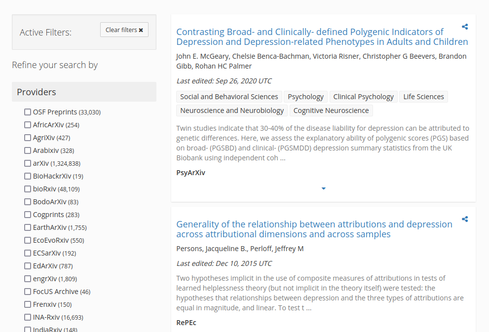 OSF preprint search screenshot.